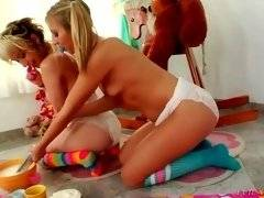 Bitch in white panty wants her chick to insert huge dildo in her ass