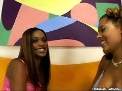 Two hot looking ebony girls adore sweet lesbian action. Their hands start to wander each other's chocolate bodies.