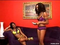 Two busty ebony candies Destiny and Evanni can do hot fun without guys.